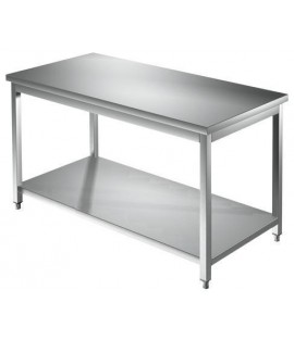 Tavolo acciaio inox c/ripiano dim. cm. 250*70*85h