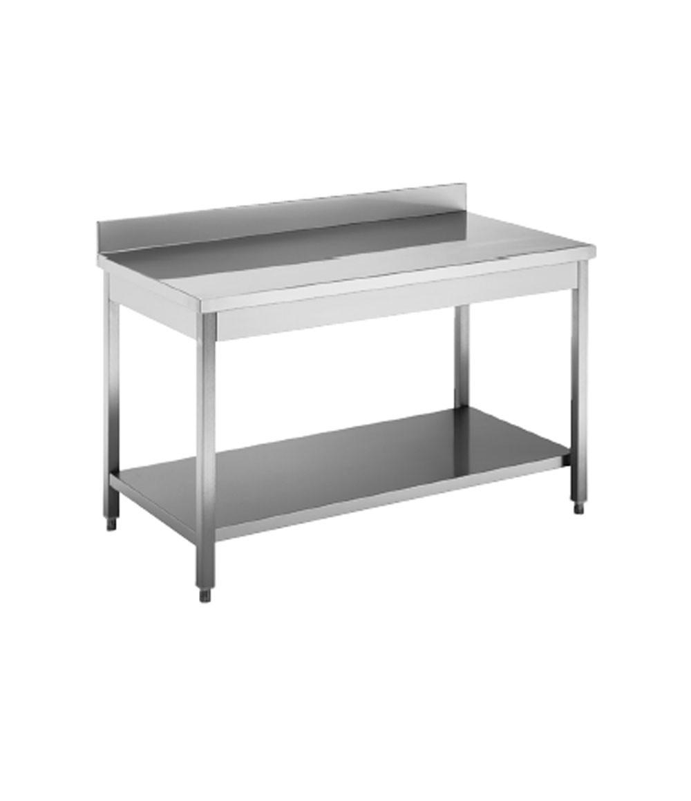 Tavolo acciaio inox c ripiano e alzatina dim cm 150 70 85h minosi - Tavolo in acciaio inox usato ...