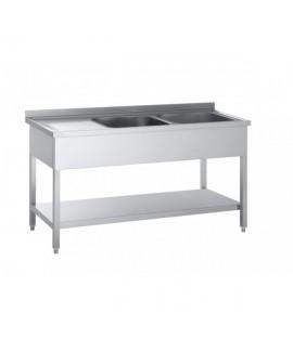 Lavello ai c/2 vasche +sg.sx cm.160*70*85h