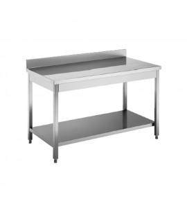 Tavolo acciaio inox c/ripiano  e alzatina dim. cm. 180*70*85h