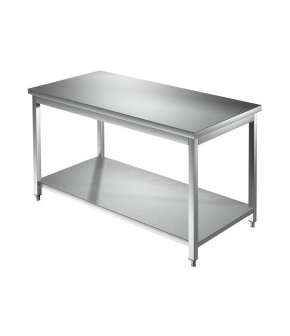 Tavolo acciaio inox c/ripiano dim. cm. 140*70*85H